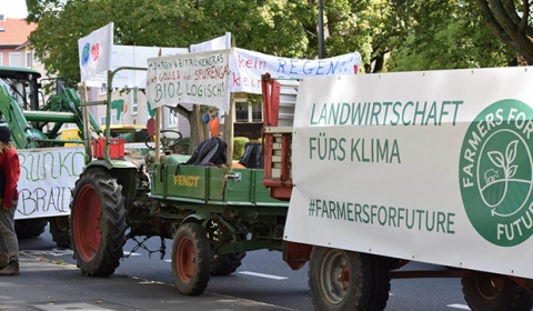 Trecker beim globalen Klimastreik am 21. September